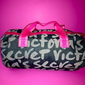 Victoria's Secret Duffle Gray with Pink Straps